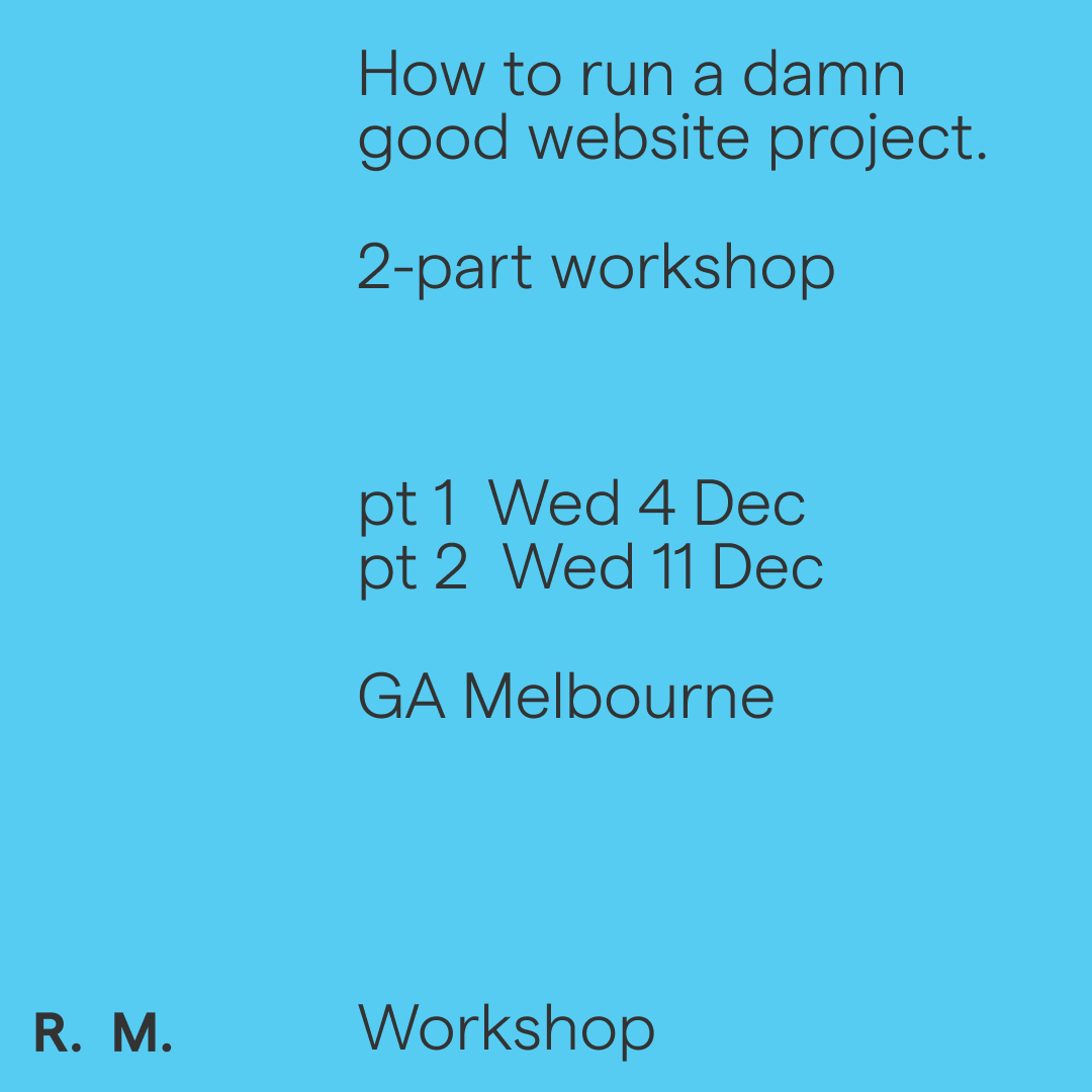 How to run a damn good website project - 2 pt Workshop